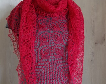 Bordeaux linen shawl, lace shawl, knitted shawl, knit scarf, shawl wrap, gift for her