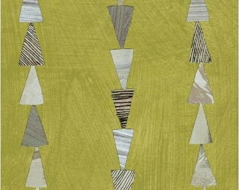Dreamer by Carrie Bloomston for Windham Fabrics - Triangle Stripe - Moss Green - 1/2 Yard Cotton Quilt Fabric 417