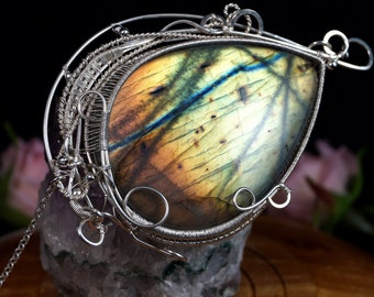 Sterling Silver wire wrapped necklace with Labradorite cabochon gift for her gift for mom, perfect present wire wrapped, artisan handmade