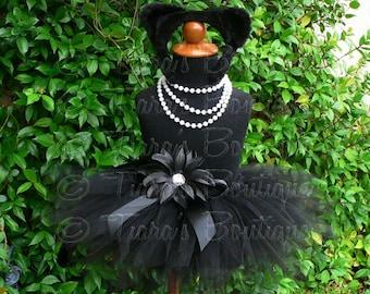 "Midnight - Black Cat Tutu Costume Set - Sewn 8"" pixie tutu, kitty ears headband, removable tail - newborn up to 12 months"