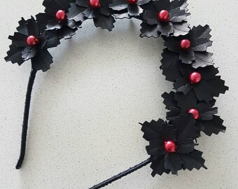 Black and red genuine leather flower crown / fascinator / headpiece / headband