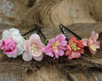 Set of 5  Pink Peach   Mulberry Paper Flower Hair Pins , Bridal Hair Pins, Hair Bobby Pins,U pins,Prom,Bridal Hair Clips (FL349)