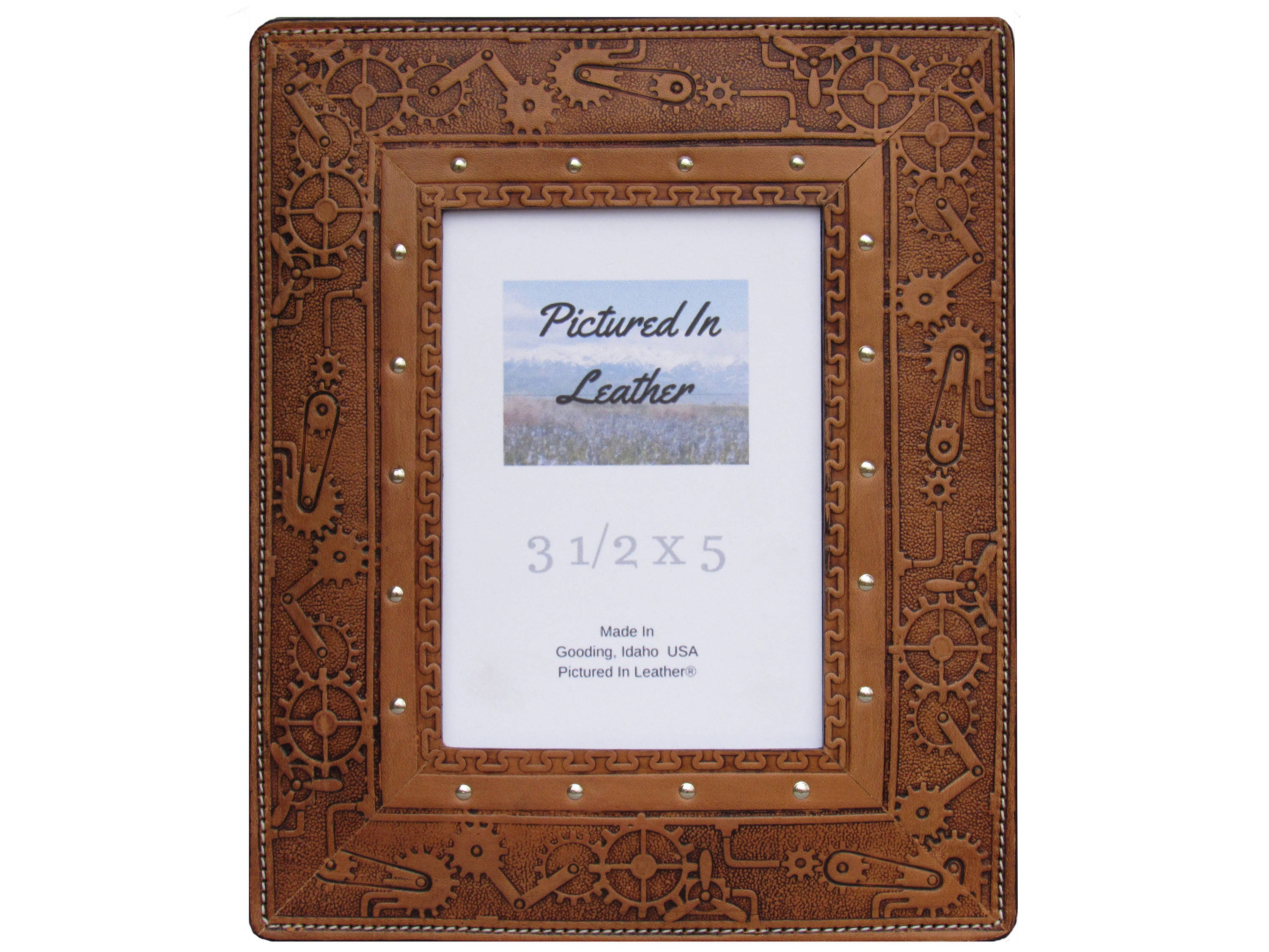 Leather photo frame, 3-1/2x5, light brown, embossed steampunk design ...
