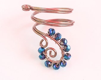 Blue and Copper Spiral Ring