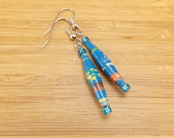 Long Paper Bead Earrings - Rwandan Paper Beads - Blue with Bits of Orange, Green, Brown, Yellow