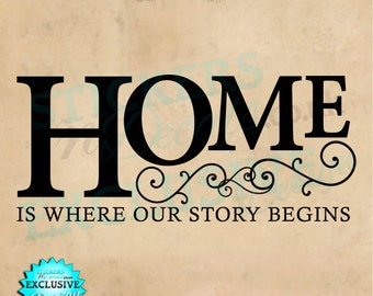 Home Is Where Our Story Begins - Vinyl Wall Art - Wall Decal - Wall Sticker - Love, Life, Family - Lounge Decor, Bedroom Decor