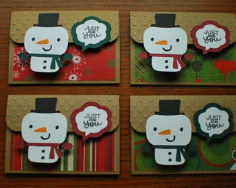 Christmas Gift Card Holders - Pop-up Gift Card Holders - Snowman Holiday Gift Card Holders - Kraft Stripes, Ornaments, Snowflakes