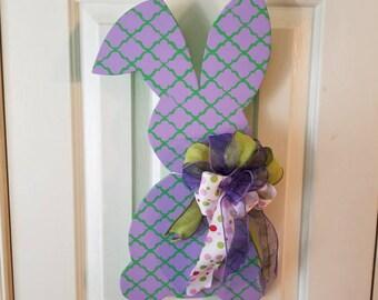 Easter Bunny Wood Door Hanger
