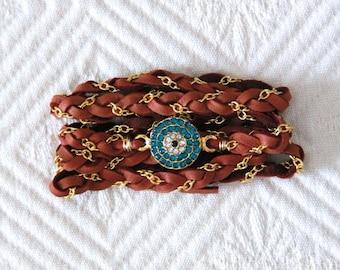 Braided Leather CZ Wrap Bracelet - Evil Eye