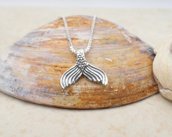 Mermaid Tail Necklace Sterling Silver Mermaid Pendant Box Chain