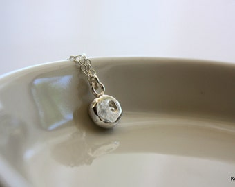 Silver Initial Necklace, Personalized Necklace, Silver Letter Charm Necklace, Hand Stamped Necklace