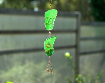 Wind Chimes Sea Glass Sun Catcher with Brass Chimes, beach glass stained glass windchime