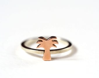 Palm Tree Ring, Sterling Silver, 9ct Rose Gold Palm Tree Ring, Desert Island, Holiday Ring, Handmade in England.