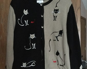 CATS LOVERS CARDIGAN cotton size L Christopher & Banks Cat Sweater