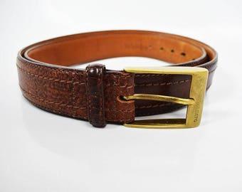Olimpo Vintage Mens Leather Belt Brown Size 40