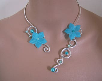 "Blue Turquoise necklace / ""Silver"" /Alu/aluminum/silver p flower bridal/wedding/party/celebration/cocktail dress silk"