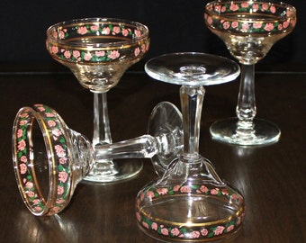 Gorgeous Set of 4, Vintage, Gold Rim, Pink and Green Floral, Champagne Glasses