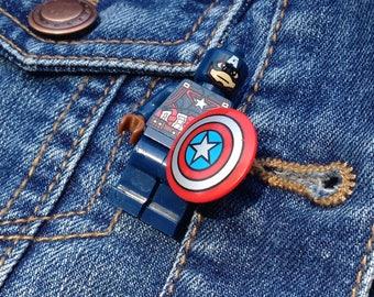 Captain America Minifigure  pin badge brooch quirky superhero marvel avengers assemble funky superhero gift