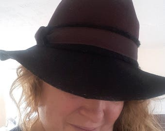 VINTAGE FASHION FEDORA Women's Wool Felt Two-tone Hat Made in Italy