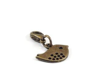 Clearance Sale Bird Zipper Pull Purse Charm Bronze Clip On Charms