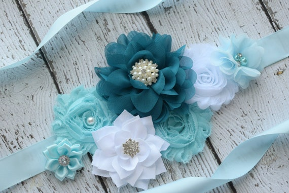 Flower Sash,teal baby blue  white   Sash  , flower Belt, maternity sash
