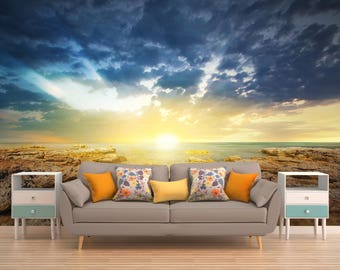 Tropical Wallpaper, Sunset Wall Decal, Ocean Wall Covering, Sea Wall Covering,Beach Wall Covering,Nature Wall Covering, Vinyl Peel And Stick