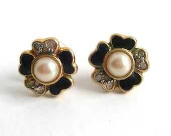 Cloisonne, earrings, enamelled,black,pink,pearl, vintage