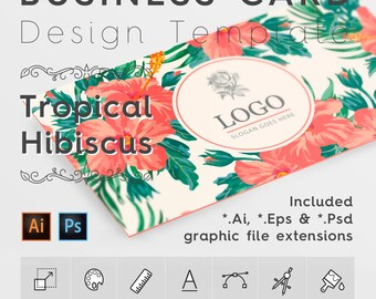 Business Card Design Template. Tropical Hibiscus