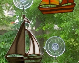 Multicolored Stained Glass Sailboat Suncatchers By Sparkle Stained Glass