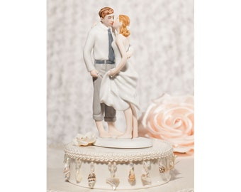 Beach Get Away Shell Accents Wedding Cake Topper - Custom Painted Hair Color Available - 108243