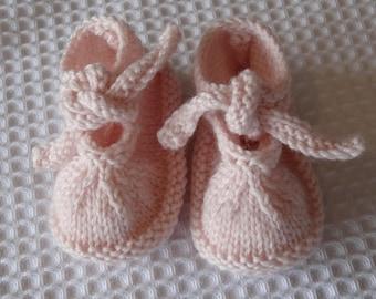 Baby booties -Pink booties Booties with ties  -Christening shoes Photo prop