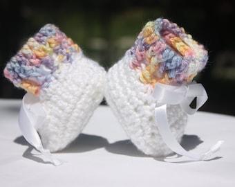 Baby Girl Rainbow Booties - White Baby Girl Booties - White Crochet Baby Booties - Rainbow Crochet Booties