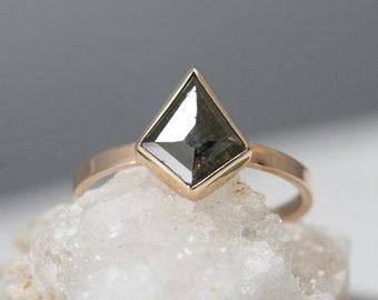 Kite shape Rose cut diamond ring, deep green diamond, geometric engagement ring, modern wedding ring,  Rachel Wilder Handmade Jewelery