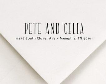 Custom Return Address Stamp, Address Stamp, Housewarming gift, Self Ink Stamp, Couple Stamp, Custom Stamp, Pete and Celia Design
