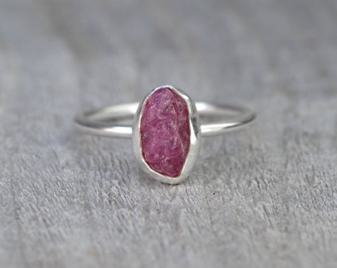 Rough Ruby Engagement Ring, Rustic Ruby Stacking Ring, 1.80ct Raw Ruby Ring, Ruby Anniversary Ring