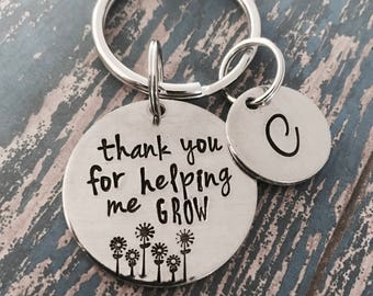 Thank you for helping me grow Key Ring - Teacher Appreciation - Teacher Gift - Keychain - Thank you gift - Appreciation gift -