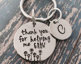 Dank u voor het helpen van me groeien Key Ring - leraar waardering - leraar Gift - sleutelhanger - bedankje geschenk - waardering gift-