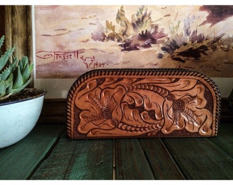 "The ""Henrietta"" - Vintage Tooled Leather Clutch"