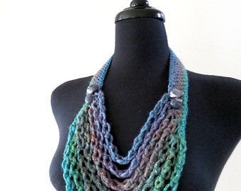 FREE US SHIPPING - Turquoise Green Blue Lavender Denim Color Chains Cords Statement Necklace Lariat Bib with Shell Beads