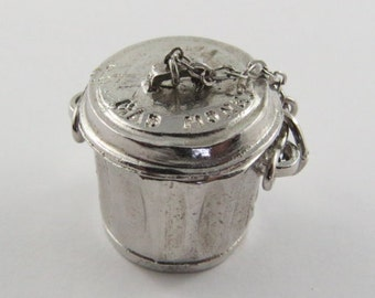 Mad Money Garbage Can Mechanical Sterling Silver Vintage Charm For Bracelet