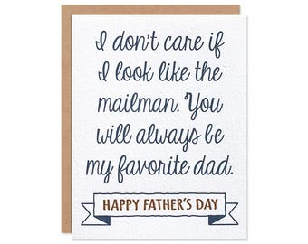 Funny Father's Day Card - Favorite Dad - Step Dad - Adopted Son - Adopted Daughter - Stepfather - Letterpress Greeting Card
