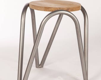 Stool design metal and wood