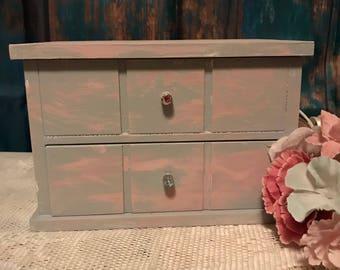 Shabby Chic Distressed Pink Gray Jewelry Box Storage Organizer