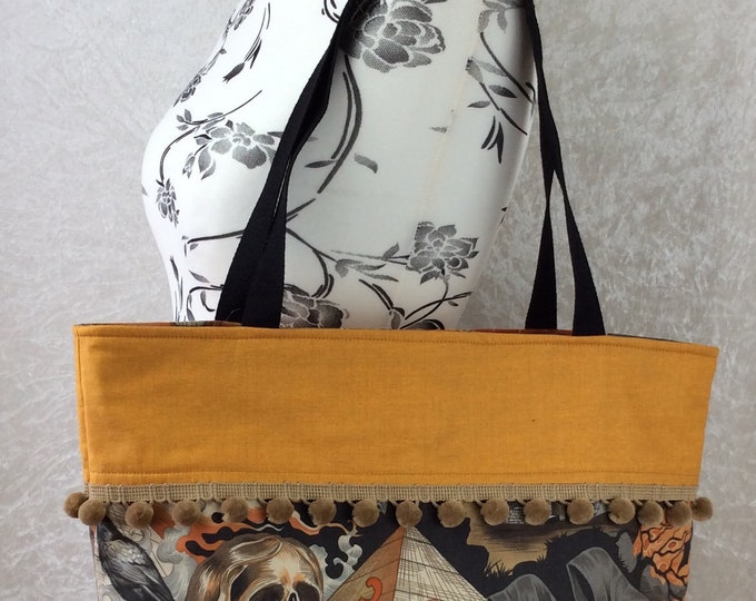 Handmade Beach tote shoulder bag Pom Pom shopping day bag purse fabric shopper Alexander Henry Gothic Heart of Darkness Skulls