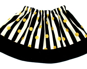 Girls Double Layer Black, White and Gold Skirt, Black and White Stripes with Gold Polka Dots Girls Skirt