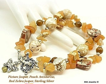 Stone and Sterling Silver, Double Strand Bracelet, Aventurine Bracelet with Butterfly Charm  B0907-3
