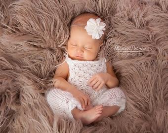 PDF Knitting Pattern - newborn photography prop_Tiny flowers jumpsuit_overalls #108