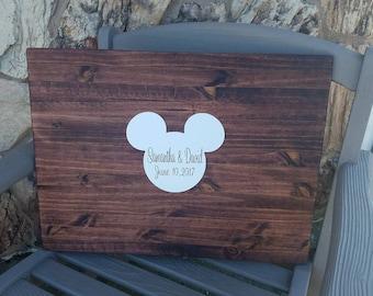 Disney Wedding Guest Book, Wood Guest Book, Wedding Decoration, Guest Book Alternative, Disney Wedding Decor