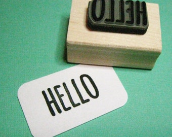 Hello Sentiment Text Rubber Stamp - Skinny Font - Card Making - Scrapbooking - Greeting - Salutation - Hi - Hello There