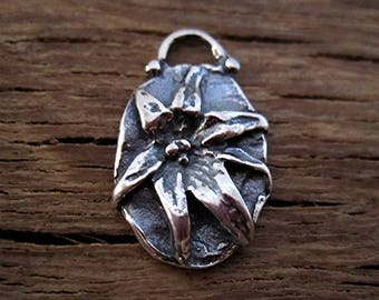 Beautiful Artisan Flower Charm and Earring Charm in Sterling Silver (one) (C) (N)